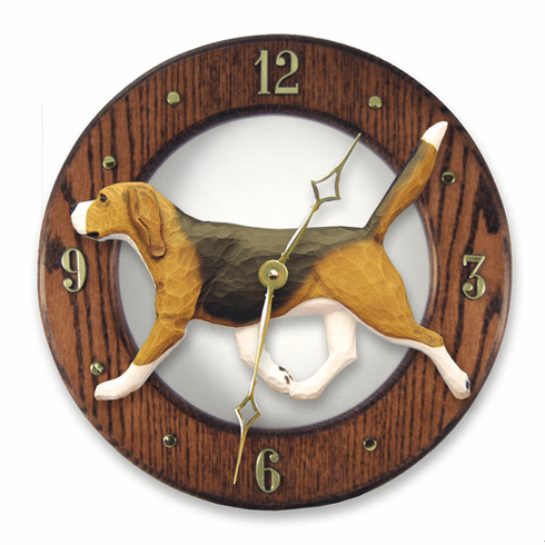Beagle Solid Oak Wall Clock