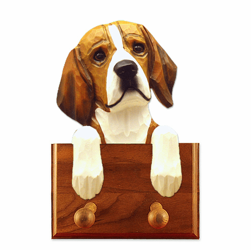 Beagle Walnut Dog Leash Holder