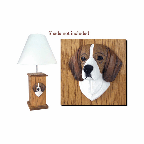 Beagle Wood Carved Table Lamp
