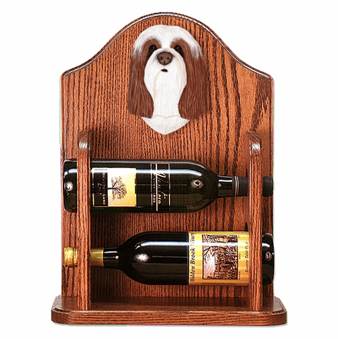 Bearded Collie Wine Rack -Brown/White