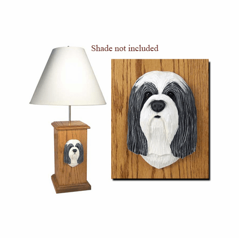 Bearded Collie Wood Carved Table Lamp