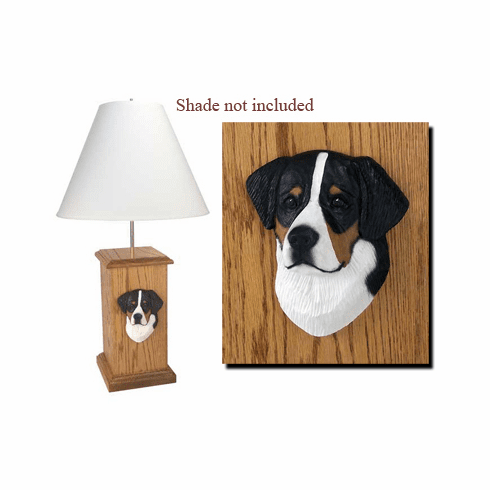 Bernese Mountain Dog Wood Carved Table Lamp