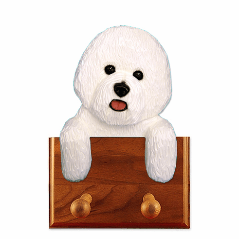 Bichon Frise Walnut Dog Leash Holder