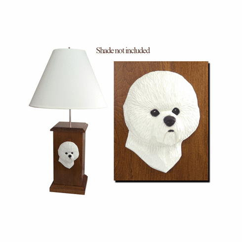 Bichon Frise Wood Carved Table Lamp