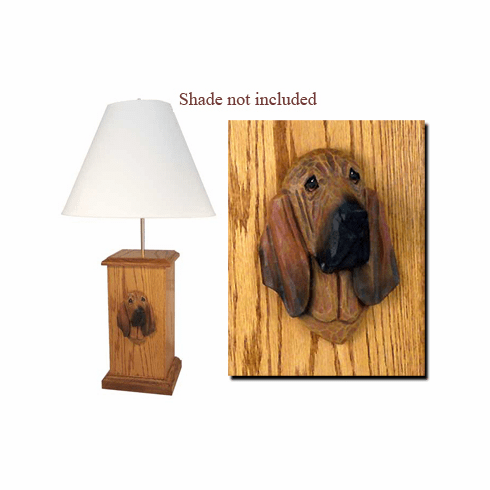 Bloodhound Wood Carved Table Lamp