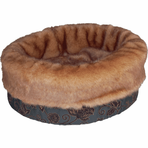 Bodacious Bucket™- Black Floral with Brown Fur