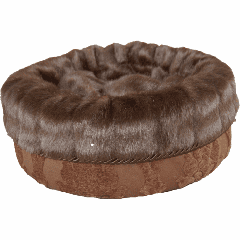 Bodacious Bucket™-Brown Large Medallion with Dark Brown Pelted fur
