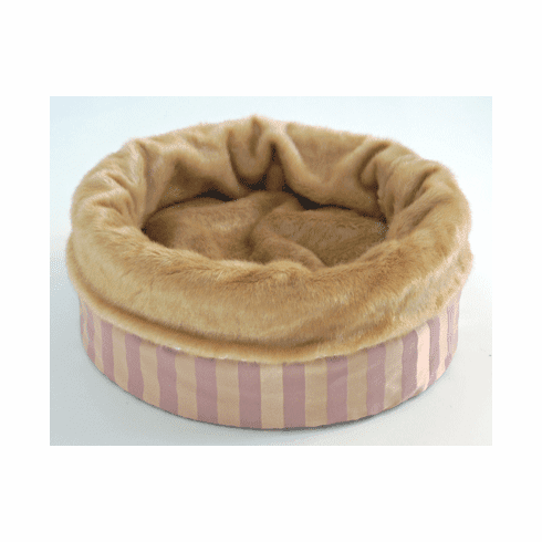 Bodacious Bucket™-Pink and Gold Stripe with Gold Fur