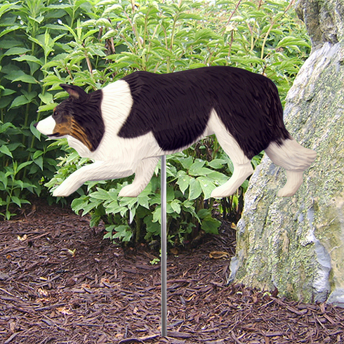 Border Collie Garden Stake-Black Tri