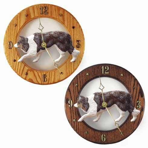 Border Collie Wall Clock-Red Merle