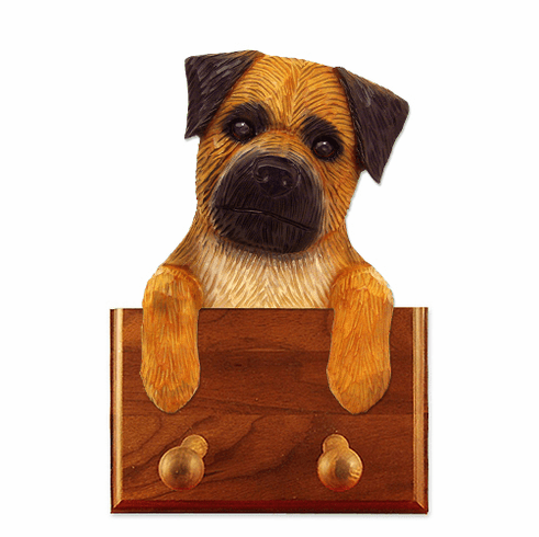 Border Terrier Walnut Dog Leash Holder
