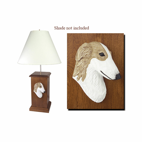 Borzoi Wood Carved Table Lamp