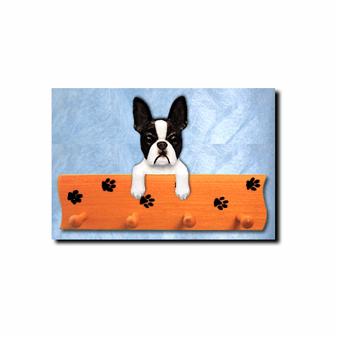 Boston Terrier Dog Four-Peg Hang Up