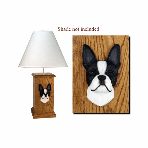 Boston Terrier Wood Carved Table Lamp