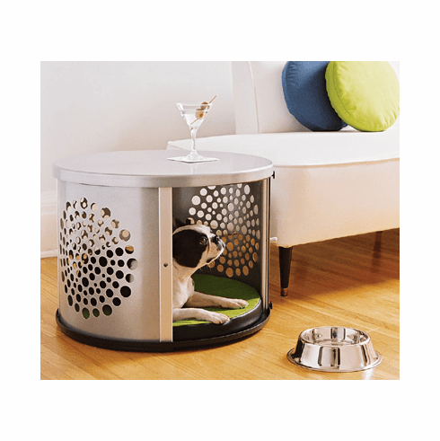 Bowhaus Modern Dog Crate Furniture Silver