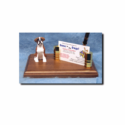 Boxer Dog Natural Ears Deluxe Desk Set