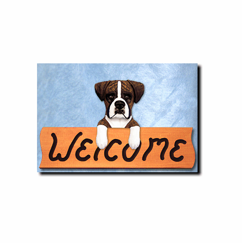 Boxer Dog Natural Ears Welcome Sign