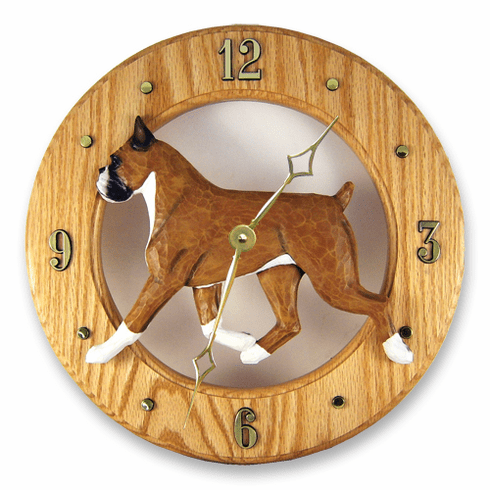 Boxer Dog Solid Oak Wall Clock