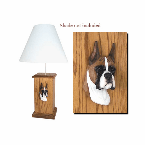 Boxer Dog Wood Carved Table Lamp