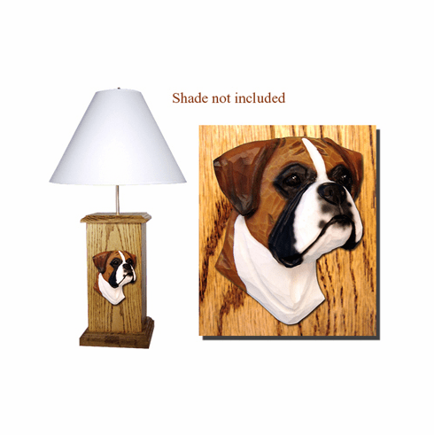 Boxer Natural Ears Wood Carved Table Lamp