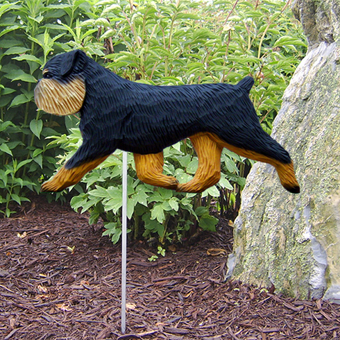 Brussels Griffon (natural)Garden Stake-Black & Tan