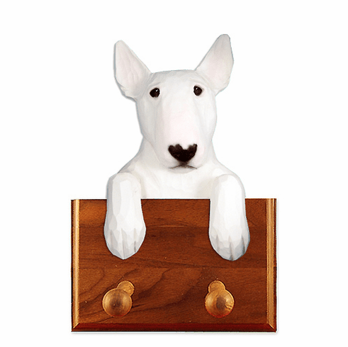 Bull Terrier Walnut Dog Leash Holder
