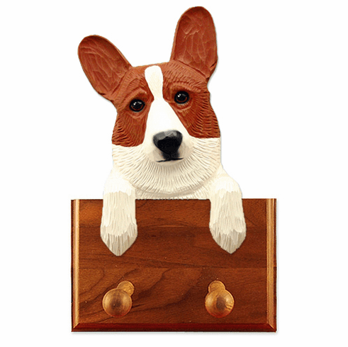 Cardigan Welsh Corgi Walnut Dog Leash Holder