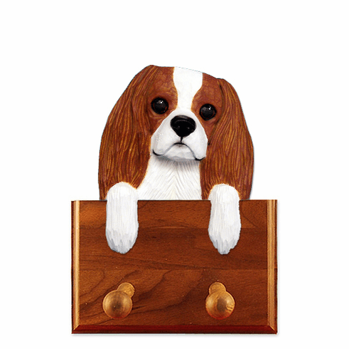 Cavalier King Charles Spaniel Walnut Dog Leash Holder