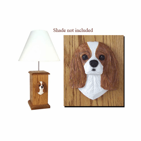 Cavalier King Charles Spaniel Wood Carved Table Lamp