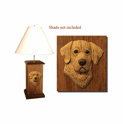 Chesapeake Bay Retriever Wood Carved Table Lamp