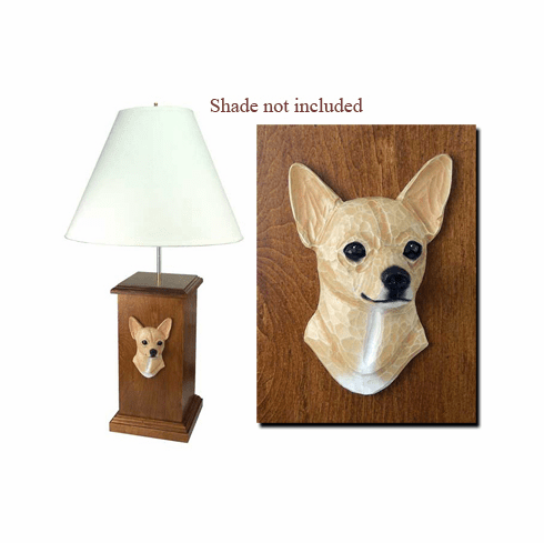 Chihuahua Smooth Coat Wood Carved Table Lamp