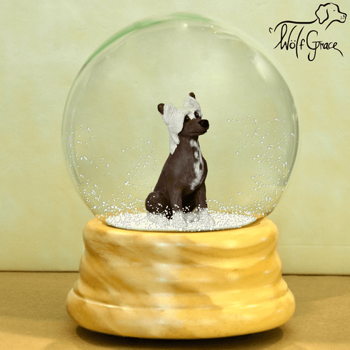 Chinese Crested Snow Globe