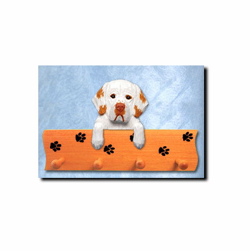 Clumber Spaniel Dog Four-Peg Hang Up
