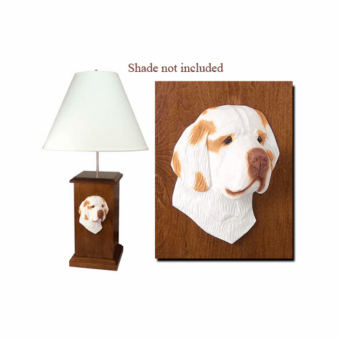 Clumber Spaniel Wood Carved Table Lamp