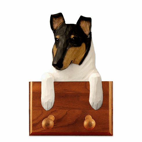Collie Smooth Walnut Dog Leash Holder
