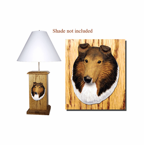 Collie Wood Carved Table Lamp