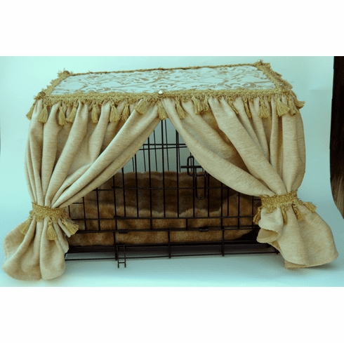 Cream Elegance Kennel Couture-Dog Crate and Cover