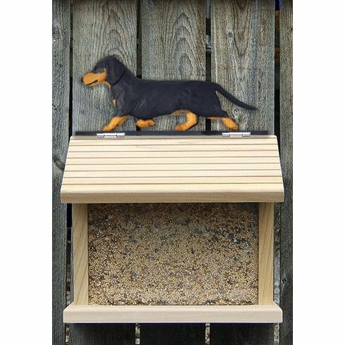 Dachshund (long hair) Bird Feeder-Black & Tan