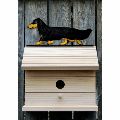Dachshund (long hair) Bird House- Black & Tan