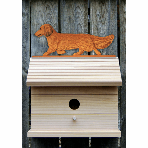 Dachshund (long hair) Bird House-Red