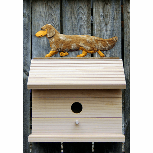 Dachshund (long hair) Bird House-Red Dapple