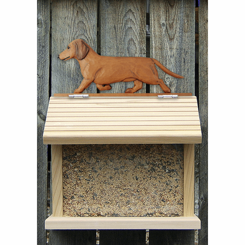 Dachshund (smooth) Bird Feeder-Red