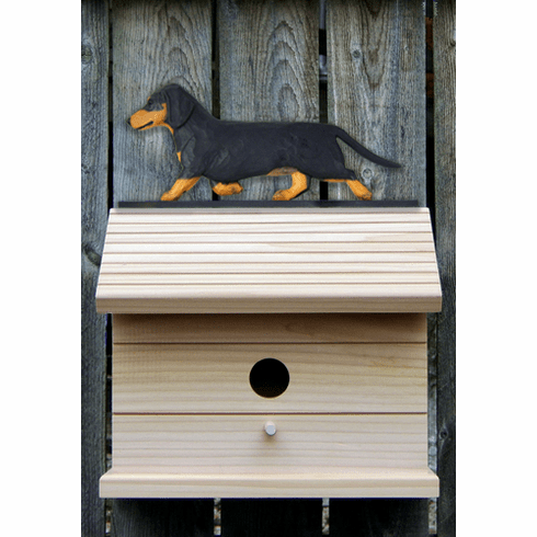 Dachshund (smooth) Bird House- Black & Tan