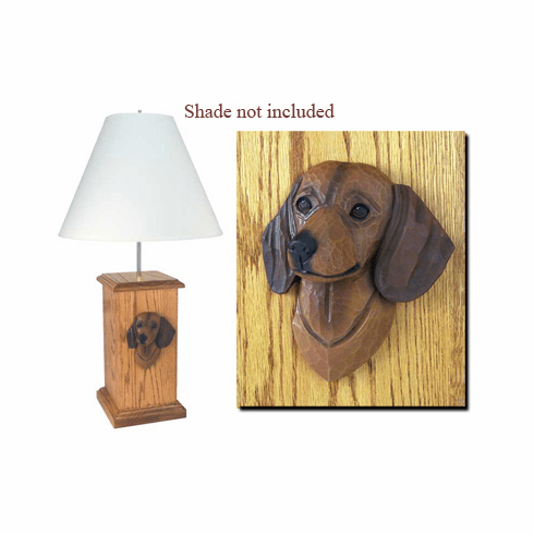 Dachshund Smooth Coat Wood Carved Table Lamp
