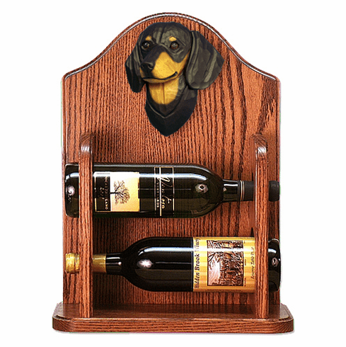 Dachshund (smooth) Wine Rack-Black & Tan