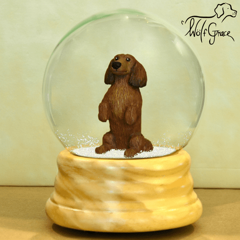 Dachshund Snow Globe, Long Hair