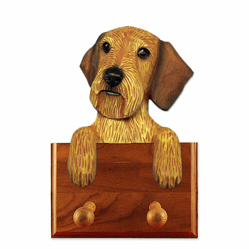 Dachshund Wirehair Walnut Dog Leash Holder