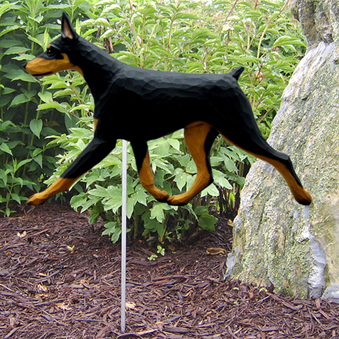 Doberman Garden Stake-Black-Tan