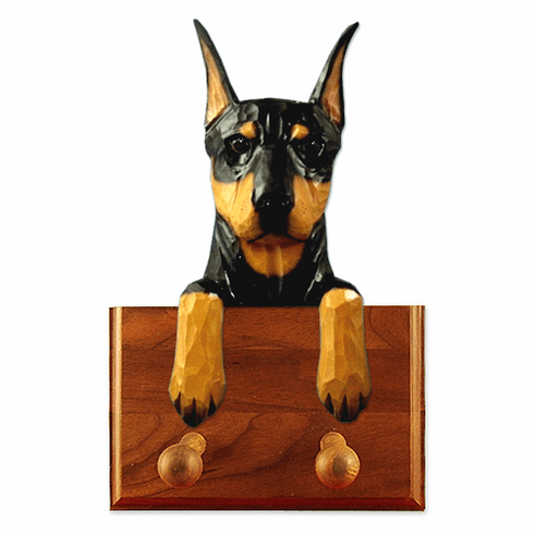 Doberman Pinscher Walnut Dog Leash Holder
