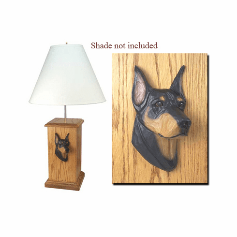 Doberman Pinscher Wood Carved Table Lamp